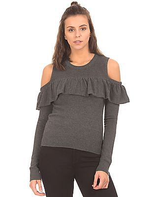 Aeropostale Ruffled Trim Cold Shoulder Sweater