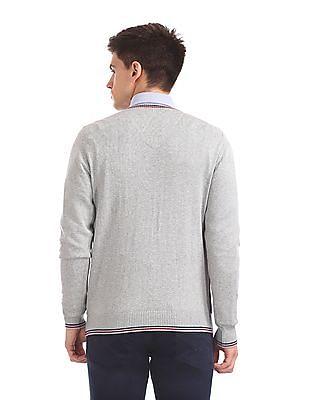 Arrow Sports V-Neck Colour Blocked Sweater