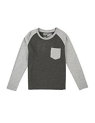 FM Boys Boys Raglan Sleeve Heathered T-Shirt