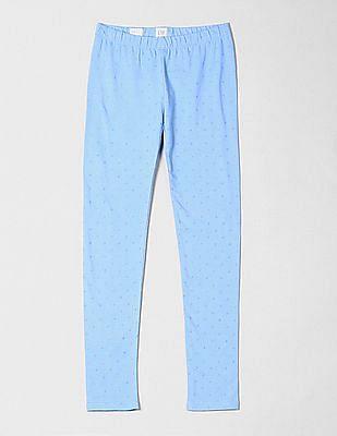 GAP Girls Blue Print Leggings in Stretch Jersey