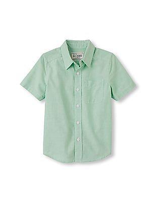 The Children's Place Boys Green Short Sleeve Cotton Poplin Button Down Shirt