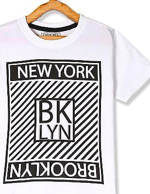 Cherokee White Boys Printed Front T-Shirt
