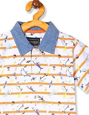 Cherokee Boys Chambray Collar Polo Shirt