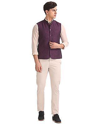 Arrow Newyork Slim Fit Linen Nehru Jacket