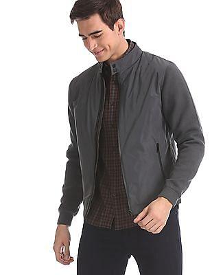 Arrow Sports Grey Knit Sleeve High Neck Jacket