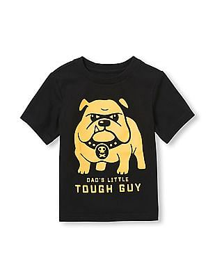 The Children's Place Toddler Boy Short Sleeve 'Dad's Little Tough Guy' Bulldog Graphic Tee