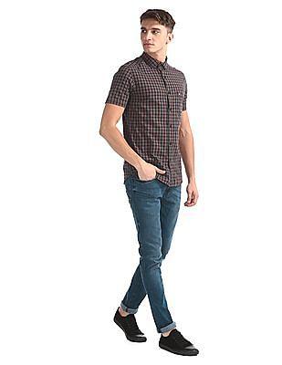 Arrow Sports Brown Check Short Sleeve Shirt