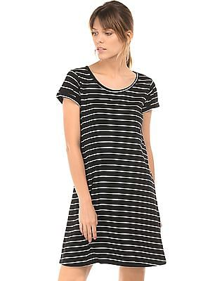 Flying Machine Women Striped Knitted T-Shirt Dress
