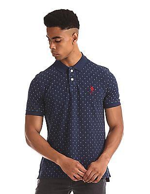 U.S. Polo Assn. Blue Printed Pique Polo Shirt