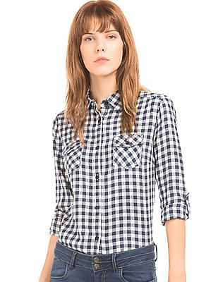 Flying Machine Women Check Regular Fit Shirt
