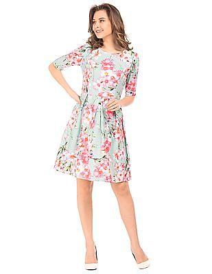 Elle Floral Print Pleated Dress