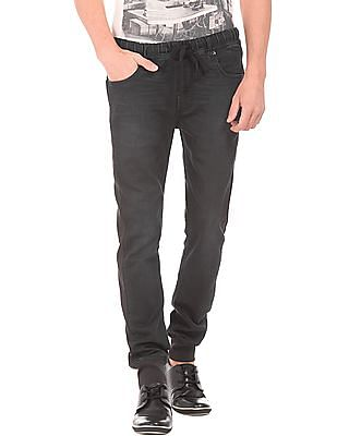 Flying Machine Ribbed Panel Washed Jogger Jeans
