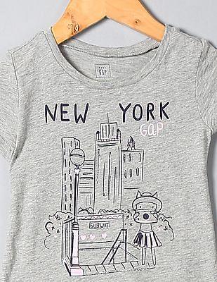 GAP Toddler Girl Grey Short Sleeve Graphic T-Shirt
