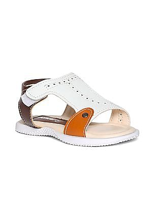 Donuts White And Brown Boys Perforated Colour Block Sandals