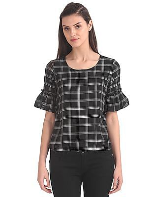 SUGR Bell Sleeve Check Boxy Top