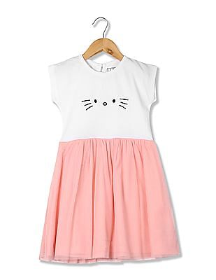 Colt Girls Colour Block Tulle Fit And Flare Dress