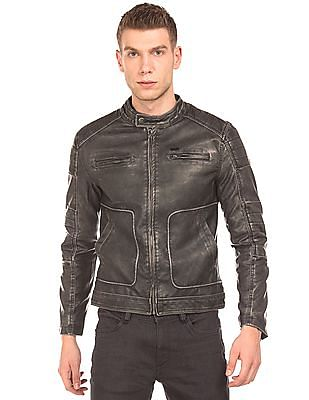 Flying Machine Washed Faux Leather Biker Jacket