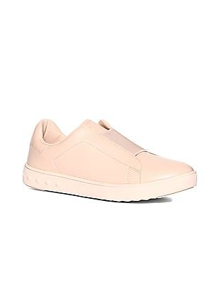 Stride Beige Low Top Solid Slip On Shoes