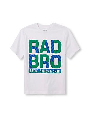 The Children's Place Boys Short Sleeve 'Rad Bro Style Skills And Swag' Graphic Tee