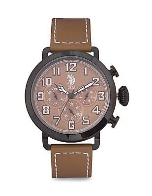 U.S. Polo Assn. USAT0089 Leather Strap Multifunction Watch