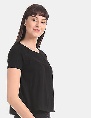 Aeropostale Black Lace Yoke Viscose Top