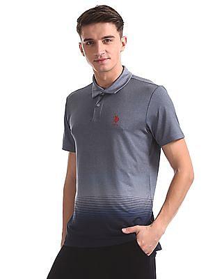 USPA Active Blue Printed Active Polo Shirt