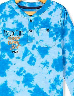 Cherokee Boys Tie And Dye Henley T-Shirt