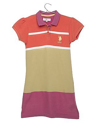 U.S. Polo Assn. Kids Girls Striped Polo Dress