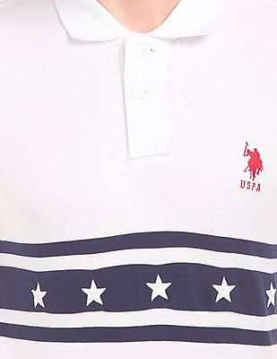 U.S. Polo Assn. Striped Chest Slim Fit Polo Shirt