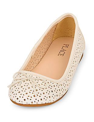 The Children's Place Girls Perforated Kayla Ballet Flat