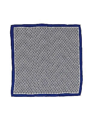 Arrow White and Blue Printed Pocket Square
