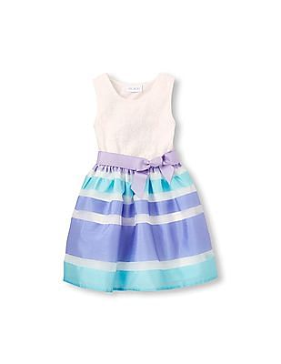 The Children's Place Girls Sleeveless Lace To Striped Belted Woven Dress