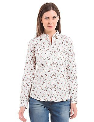 Flying Machine Women Floral Print Regular Fit Shirt