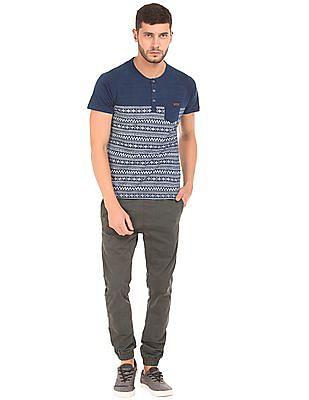 Izod Slim Fit Aztec Print Henley T-Shirt