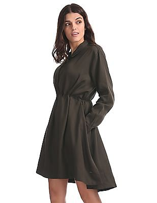 Elle Tie Up At Waist Shirt Dress