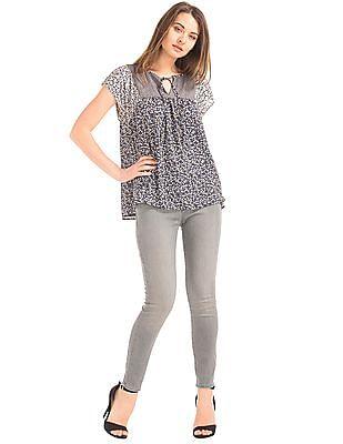 GAP Women Grey Mid Rise Zip Pocket True Skinny Ankle Jeans