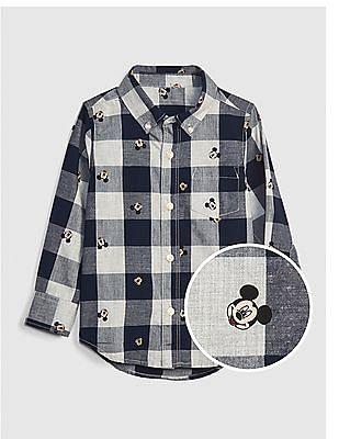 GAP Blue Toddler Boy Disney Mickey Mouse Plaid Shirt