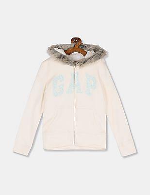 GAP Girls White Embroidered Logo Hooded Sweatshirt