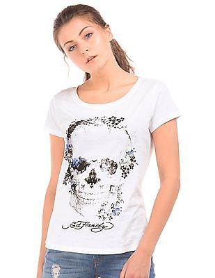 EdHardy Women Printed High Low Hem T-Shirt