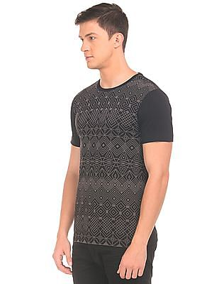 Flying Machine Round Neck Printed Front T-Shirt