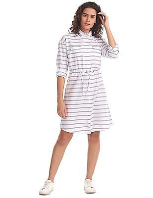 U.S. Polo Assn. Women Drawstring Waist Striped Shirt Dress