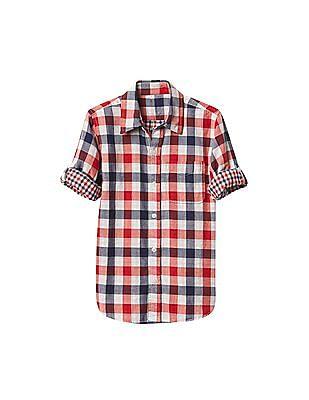 GAP Boys Multi Colour Plaid Double Woven Convertible Shirt