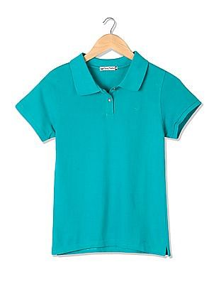 Flying Machine Women Standard Fit Solid Polo Shirt