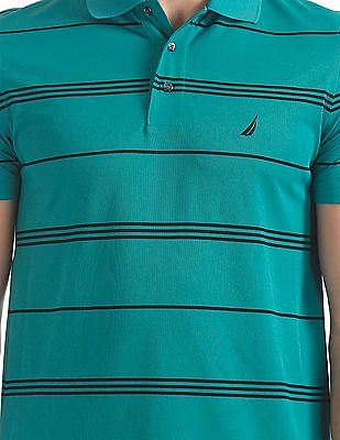 Nautica Short Sleeve Stripe Tech Pique Polo Shirt