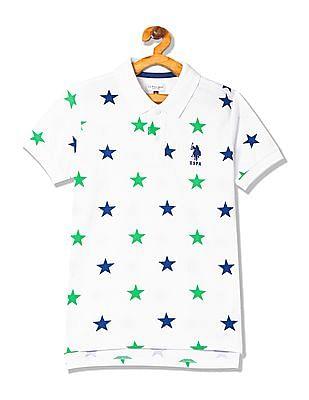 U.S. Polo Assn. Kids Boys Star Print Cotton Polo Shirt