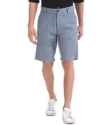 Arrow Sports Blue Mid Rise Slub Weave Shorts