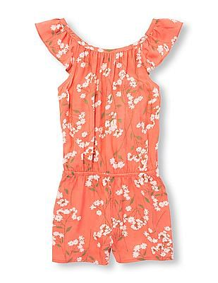The Children's Place Girls Sleeveless Floral Woven Romper