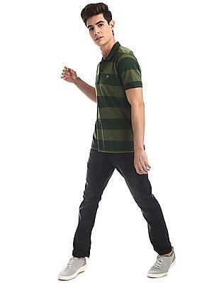 Ruggers Green Striped Pique Polo Shirt