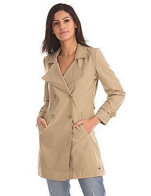 U.S. Polo Assn. Women Double-Breasted Solid Trench Coat