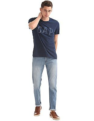 GAP Men Blue Short Sleeve Logo Tee